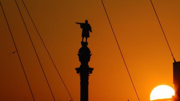 Christophe Colomb dans le port de Barcelone